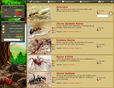 The Queen webpage from the online strategy game Antzzz